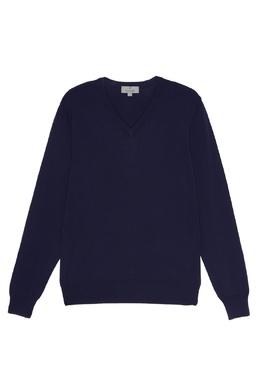 Синий хлопковый пуловер Canali 179369478