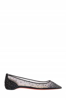 Черные балетки Follies Strass Flat Christian Louboutin 10672209