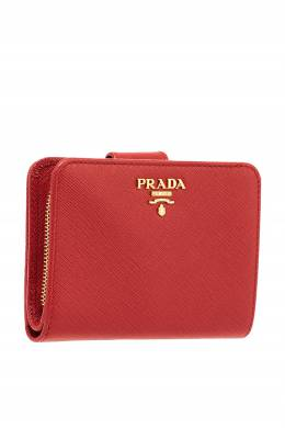 Красный складной кошелек из кожи Prada 4075772