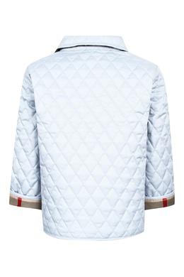Стеганая куртка светло-голубого цвета Burberry Kids 125379356