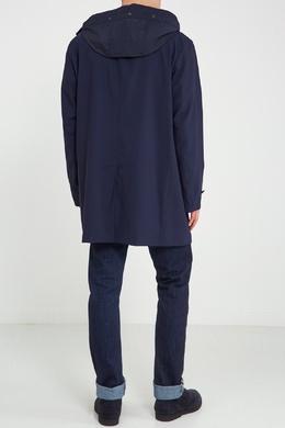 Синее однобортное пальто с капюшоном Canali 179387020