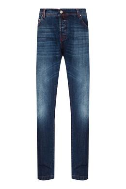 Укороченные синие джинсы Kiton 167187178
