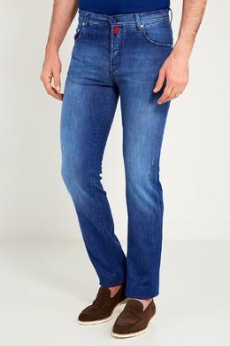 Синие джинсы с цветными пуговицами Kiton 167187180
