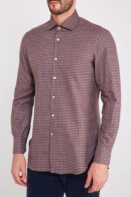 Коричневая рубашка в клетку Kiton 167187161