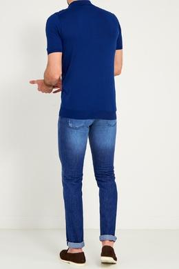 Синее хлопковое поло Kiton 167187176