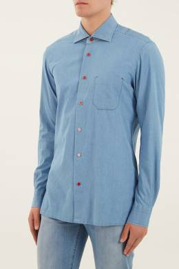 Голубая рубашка с цветной застежкой Kiton 167192704