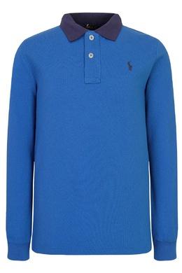 Голубое поло с контрастным воротником Polo Ralph Lauren Kids 266995680