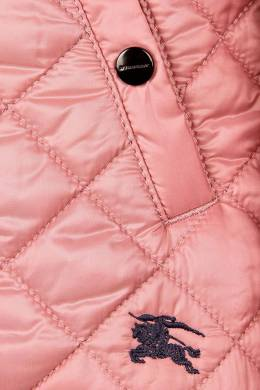 Стеганая розовая куртка Burberry Kids 125395258