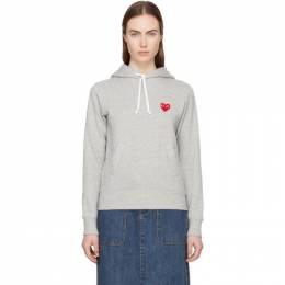 Comme Des Garcons Play Grey Heart Patch Hoodie 181246F09700303GB