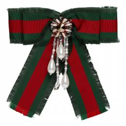 Gucci Red and Green Striped Ribbon Brooch 490898 J8745