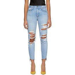Grlfrnd Blue Distressed Karolina Jeans 191966F06901103GB
