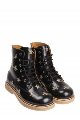 Черные ботинки с золотистой вышивкой Gucci Kids 1256102834