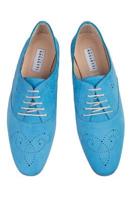 Оксфорды из голубой кожи Fratelli Rossetti 47183925
