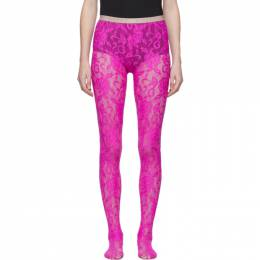 Gucci Pink Lace Tights 554856 3G043