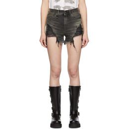 R13 Black Shredded Slouch Shorts 191021F08800306GB