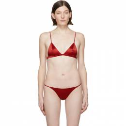 Fleur Du Mal SSENSE Exclusive Red Silk Luxe Triangle Bra 191541F07301401GB