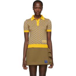 Prada Yellow Silk Printed Polo 191962F10800101GB