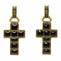 Gucci Black and Gold Cross Pendant Earrings 191451M14400101GB