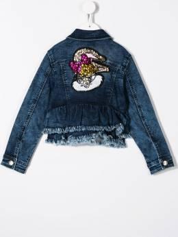 Monnalisa - джинсовая куртка с вышивкой 963R3369093586966000