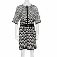 M Missoni Monochrome Wave Patterned Knit Collared Short Sleeve Dress M 162113