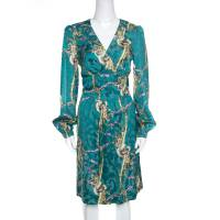 Roberto Cavalli Class Teal Intertwined Snakes Printed Long Sleeve Dress M 157344
