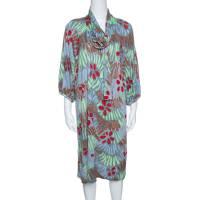 M Missoni Grey Floral Printed Neck Tie Detail Dress L 143604