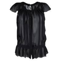 Joseph Black Silk Ruffle Detail Button Front Sheer Blouse S 115821