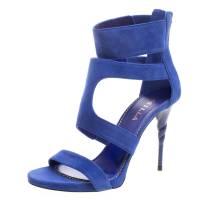 Le Silla Blue Suede Spiral Heel Strappy Sandals Size 38.5 111976