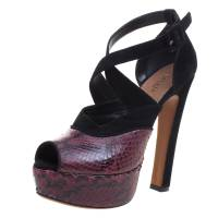 Alaia Burgundy Python and Suede Cross Strap Peep Toe Sandals Size 36 100400