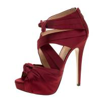 Charlotte Olympia Red Satin Andrea Cross Strap Knotted Platform Sandals Size 41 130876