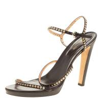Sergio Rossi Brown Studded Strappy Leather Open Toe Platform Sandals Size 40.5 139540