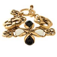 Oscar De La Renta Black And White Resin Gold Tone Toggle Bracelet 118493