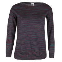 M Missoni Purple Striped Knit Silk Back Panel Detail Sweater S 125661