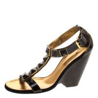 Giuseppe Zanotti Design Black Patent Leather Stud Embellished T Strap Wedge Sandals Size 35 115539