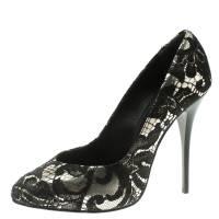 Giuseppe Zanotti Design Silver Metallic Leather and Black Lace Pumps Size 37 107705