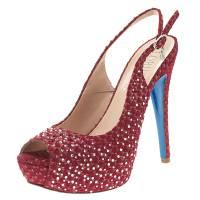 Loriblu Red Crystal Embellished Textured Nubuck Platform Slingback Sandals Size 37.5 108980