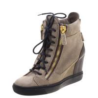 Giuseppe Zanotti Design Brown Suede and Leather Hidden Wedge Sneakers Size 36 103999