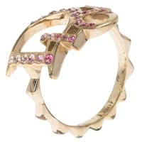 Dior Pink Crystal Studded Logo Gold Tone Ring Size 51 66798