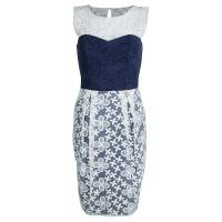 Roberto Cavalli Class Navy Blue Contrast Lace Detail Floral Embroidered Sleeveless Dress S 69414