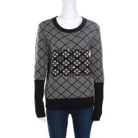 Sonia Rykiel Monochrome Diamond Pattern Wool Embellished Crew Neck Sweater L 159268