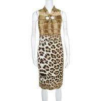 Roberto Cavalli Class Multicolor Animal Printed Snake Buckle Detail Cutout Back Dress M 161434