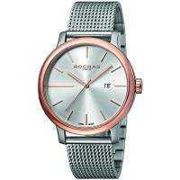 Rochas Silver Rose Gold Plated Stainless Steel RP1G015M0081 Men's Wristwatch 42MM 179639