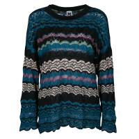 M Missoni Multicolor Patterned Perforated Knit Sweater S 136752