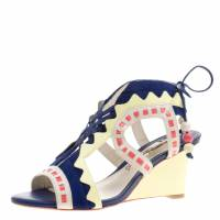 Sophia Webster Multicolor Leather and Suede Raya Wedge Sandals Size 36 132050
