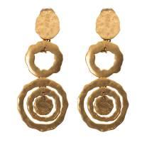 Oscar De La Renta Flat Circular Link Gold Tone Long Earrings 118545