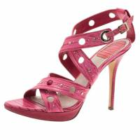 Dior Pink Leather Dior Bubble Platform Sandals Size 39.5 10715