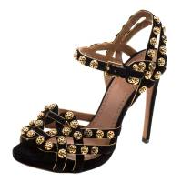 Alaia Black Studded Suede Ankle Strap Sandals Size 38 121241