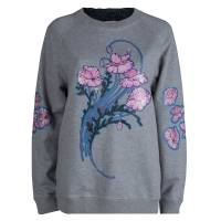 Christopher Kane Grey Bouquet Print Applique Detail Sweatshirt S 81514