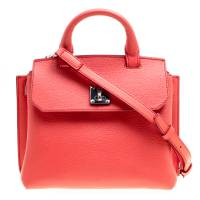 MCM Red Leather Small Milla Top Handle Bag 154167