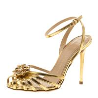 Charlotte Olympia Metallic Gold Leather Surprise! Ankle Strap Sandals Size 35.5 143833